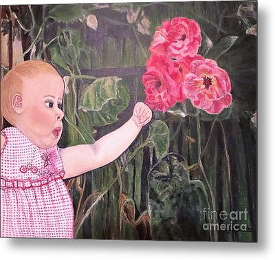 Metal Print featuring the painting Touched By The Roses Painting by Kimberlee Baxter