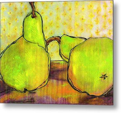 Touching Green Pears Art Metal Print by Blenda Studio