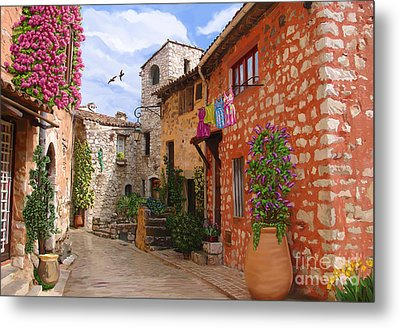 Metal Print featuring the painting Tourettes Sur Loup France by Tim Gilliland