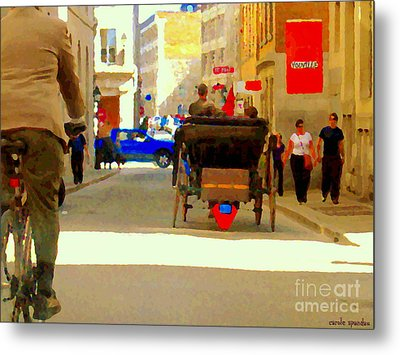 Touring Old Montreal Cyclist Caleche Cars Share Narrow Historic Youville Square City Scenes Cspandau Metal Print by Carole Spandau