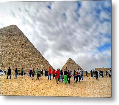 Tourism Fogh At Giza Pyramids  Metal Print by Karam Halim