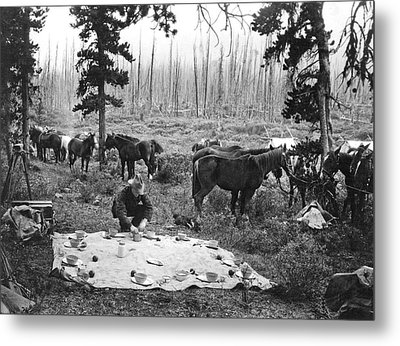 Tourist Horseback Camp Lunch Metal Print by Underwood Archives