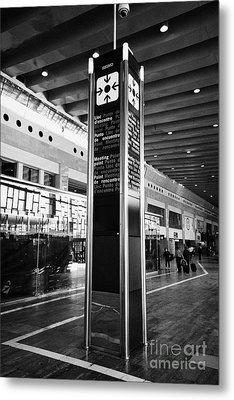 Tourist Meeting Point Barcelona El Prat Airport Terminal 2 Catalonia Spain Metal Print by Joe Fox