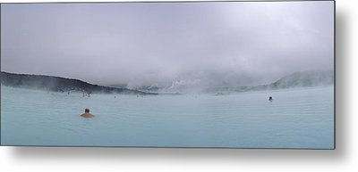 Tourist Swimming In A Thermal Pool Metal Print by Panoramic Images