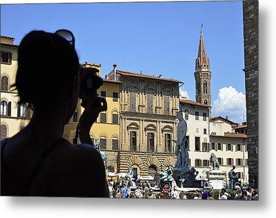 Tourist Taking Pictures Of Florence Metal Print by Sami Sarkis