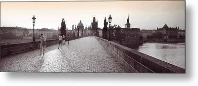 Tourist Walking On A Bridge, Charles Metal Print