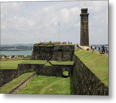 Tourists Along Rampart Of Galle Fort Metal Print by Panoramic Images