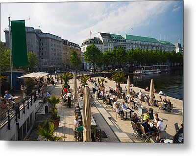 Tourists At A Sidewalk Cafe Metal Print by Panoramic Images