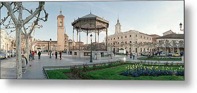 Tourists In Front Of Buildings, Plaza Metal Print