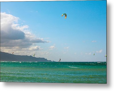 Tourists Kiteboarding In The Ocean Metal Print by Panoramic Images