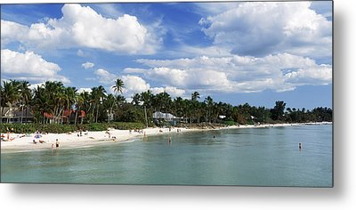 Tourists On The Beach, Naples, Gulf Metal Print by Panoramic Images
