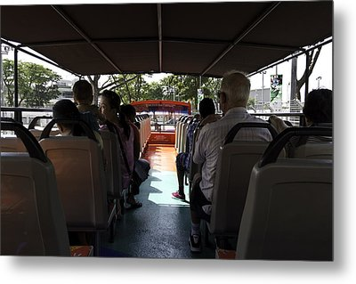 Tourists On The Sight-seeing Bus Run By The Hippo Company In Singapore Metal Print by Ashish Agarwal