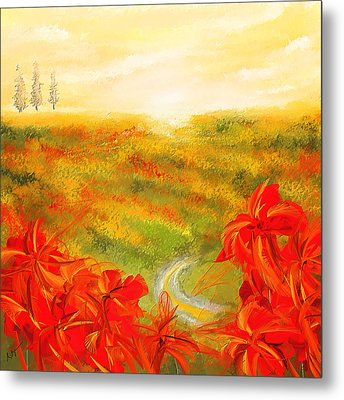 Towards The Brightness - Fields Of Poppies Painting Metal Print by Lourry Legarde