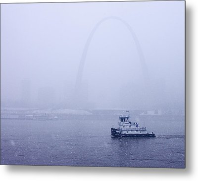 Towboat Working In The Snow St Louis Metal Print by Garry McMichael
