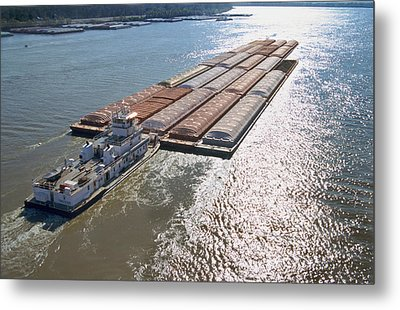 Towboats And Barges On The Mississippi Metal Print by Garry McMichael