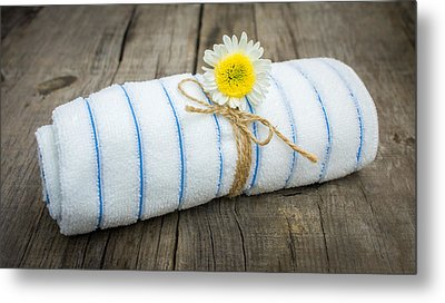 Towel With A Flower Metal Print by Aged Pixel