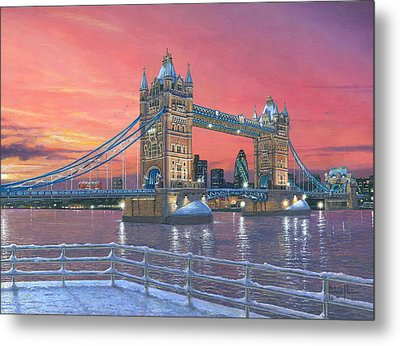 Tower Bridge After The Snow Metal Print by Richard Harpum