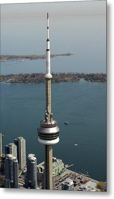 Tower Close Up With Lake Ontario In Metal Print by Bernard Dupuis