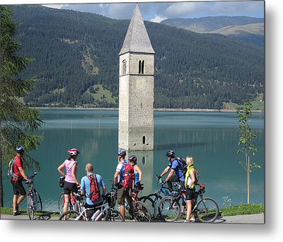 Metal Print featuring the photograph Tower In The Lake by Travel Pics