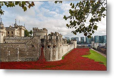Tower Of London Poppies Metal Print by Izzy Standbridge