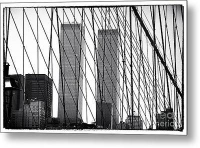 Towers From The Brooklyn Bridge 1990s Metal Print by John Rizzuto