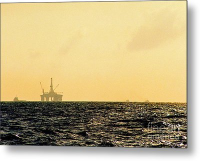 Towing A Platform In The Gulf Of Mexico Off The Coast Of Louisiana Metal Print by Michael Hoard