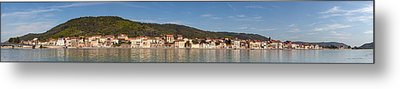 Town At The Waterfront, Rhone River Metal Print by Panoramic Images