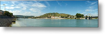 Town At The Waterfront, Vineyards Metal Print by Panoramic Images