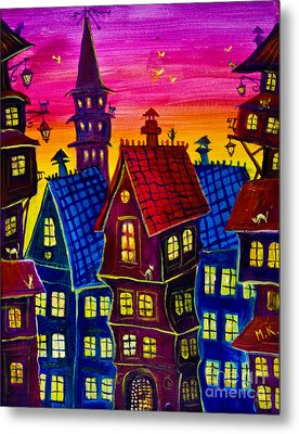 Town At Twilight Metal Print