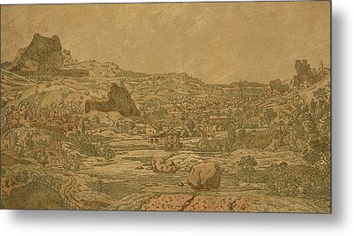 Town With Four Towers Metal Print by Hercules Segers