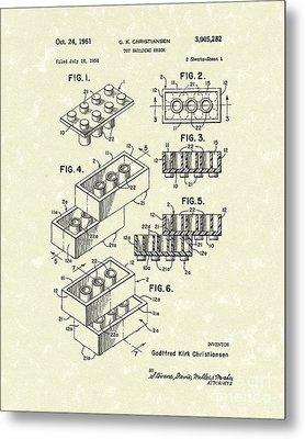 Toy Building Brick 1961 Patent Art Metal Print by Prior Art Design