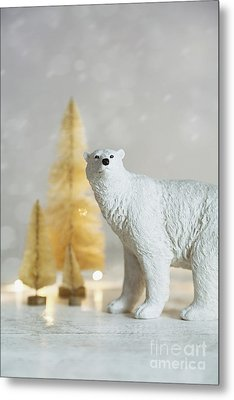 Metal Print featuring the photograph Toy Polar Bear With Little Gold Trees And Lights by Sandra Cunningham