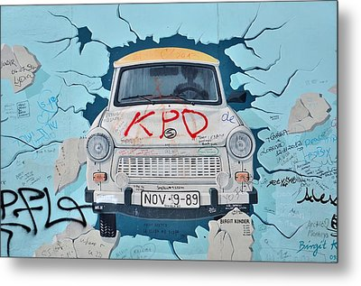 Trabant On The Berlin Wall Metal Print by Gynt