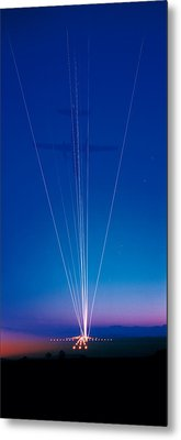 Track Lights Zurich Airport Switzerland Metal Print by Panoramic Images