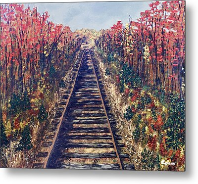 Metal Print featuring the painting Tracks Remembered by Cynthia Morgan
