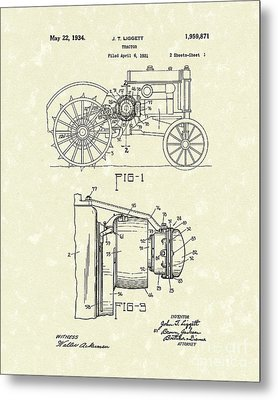 Tractor 1934 Patent Art Metal Print by Prior Art Design
