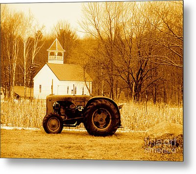 Tractor In The Field Metal Print