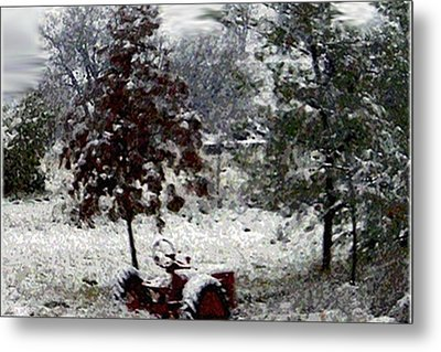 Tractor In The Snow Metal Print by Dennis Buckman