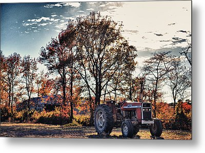 Tractor Out Of The Barn Metal Print by Kelly Reber