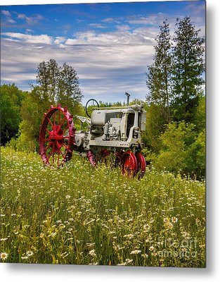Tractor Out To Pasture Metal Print by Henry Kowalski
