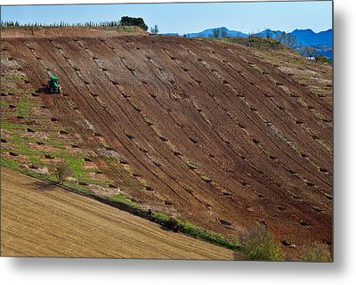 Tractor Preparing A Field, Near Alhama Metal Print by Panoramic Images