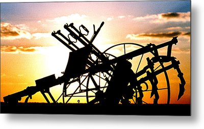 Tractor Silhouette Metal Print by Kimberleigh Ladd