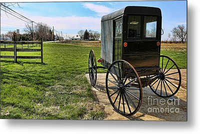 Traditional Amish Buggy Metal Print by Lee Dos Santos