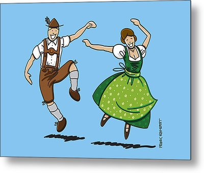 Traditional Bavarian Couple Dancing Metal Print by Frank Ramspott