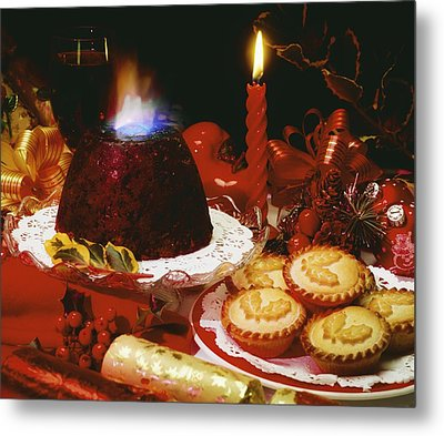 Traditional Christmas Dinner In Ireland Metal Print by The Irish Image Collection