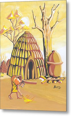 Metal Print featuring the painting Traditional House Massa Northern Cameroon by Emmanuel Baliyanga