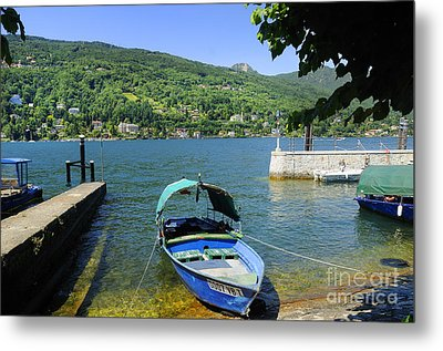 Traditional Lucia Fishing Boat On Lake Maggiore Metal Print by Brenda Kean