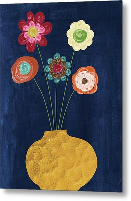 Traditional Whimsy Bouquet Metal Print