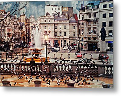 Trafalgar Square London Metal Print by Diana Angstadt