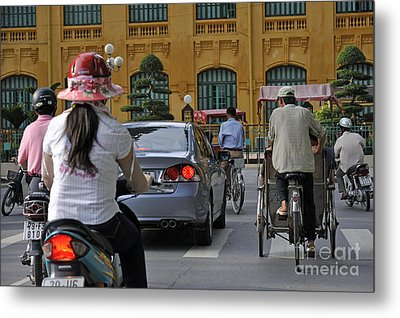 Traffic In Downtown Hanoi Metal Print by Sami Sarkis